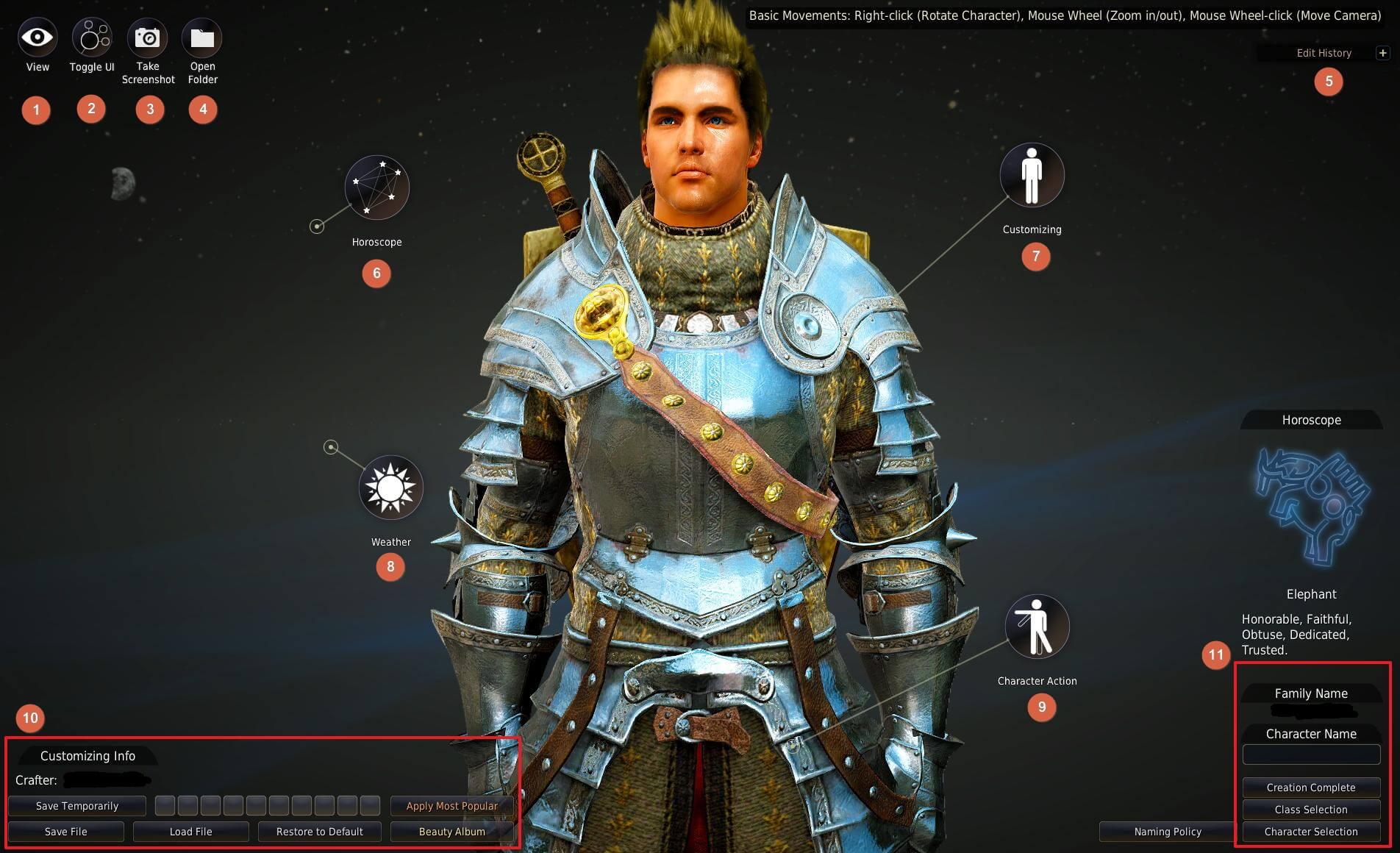 Black desert online karakter yaratma ekranı