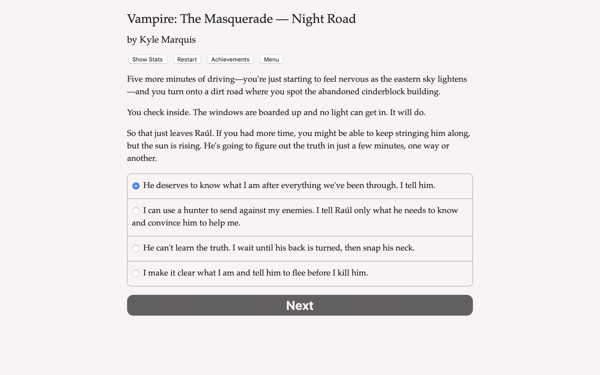 Night Road görsel roman oyun