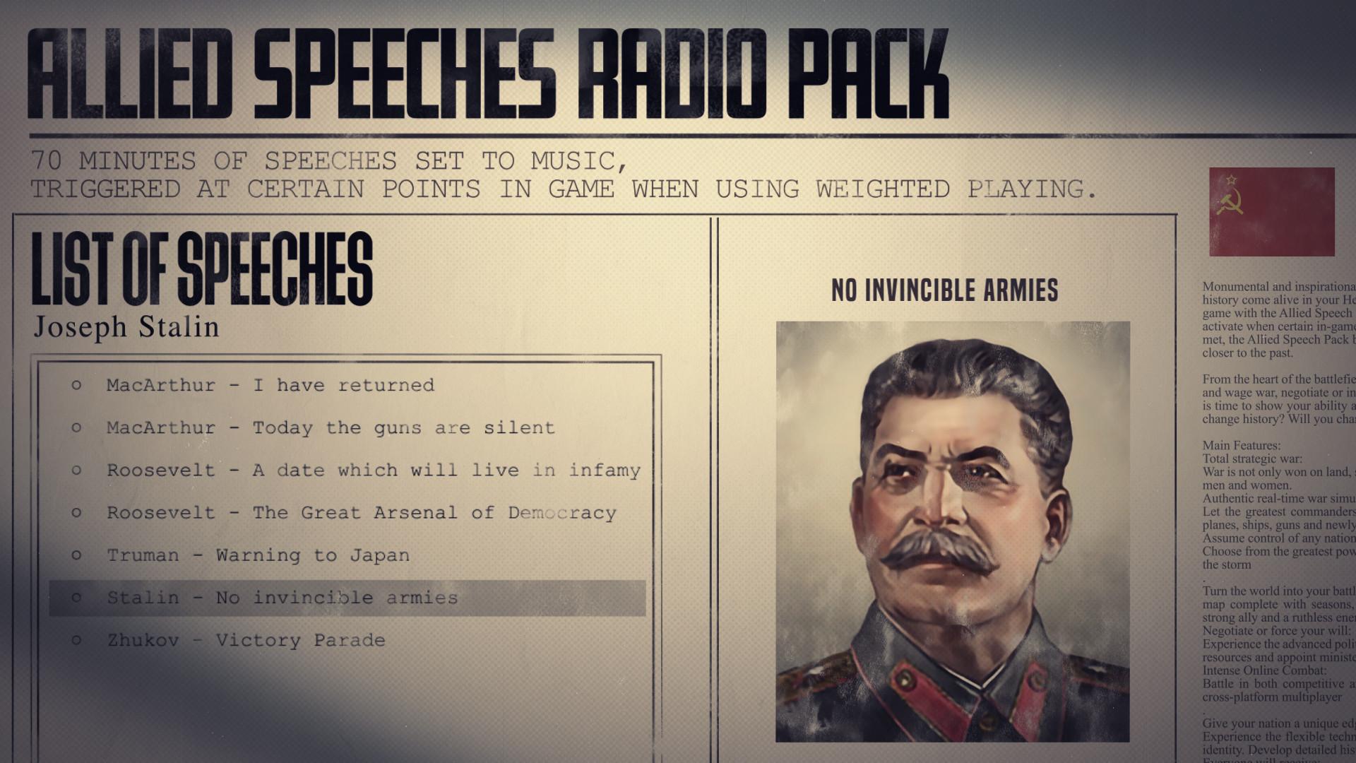 Hearts of Iron IV: Allied Speeches Music Pack PC Key Fiyatları